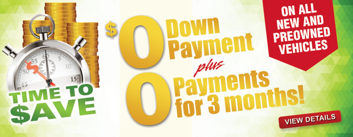 $0 Down and $0 Payments for 3 Months