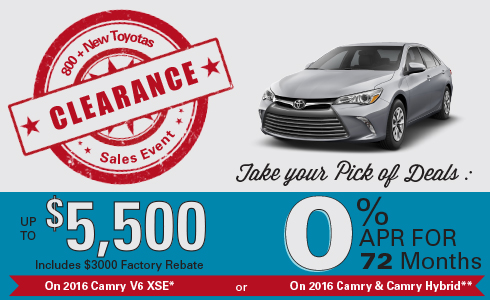 Wilde Toyota 2016 Clearance Sales Event