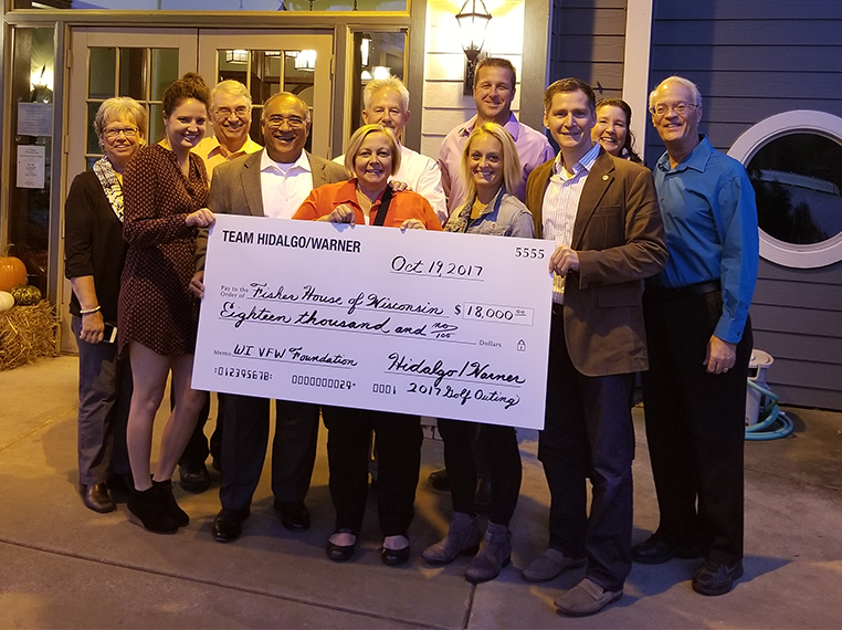 $18,000 Check Presented to Fisher House Wisconsin by Team Hidalgo/Warner