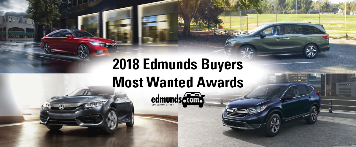 Honda Named 2018 Edmunds Buyers Most Wanted Awards