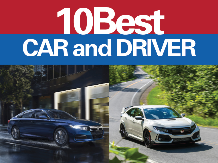Honda Accord and Civic Named in Car and Driver Magazine 10Best