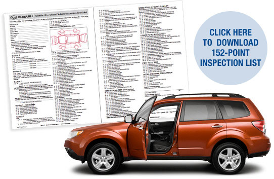 Subaru Certified Preowned 152-Point Inspection